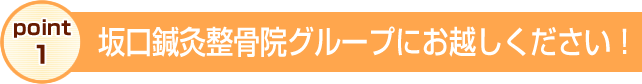 徳島交通事故・むち打ち治療 坂口鍼灸整骨院・整体院グループへお越しください